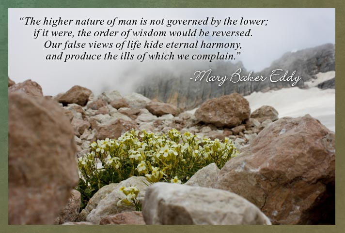 """The higher nature of man is not governed by the lower; if it were, the order of wisdom would be reversed. Our false views of life hide eternal harmony, and produce the ills of which we complain.""  - Mary Baker Eddy"