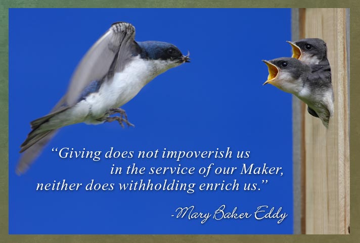 """""""Giving does not impoverish us in the service of our Maker, neither does withholding enrich us."""" -Mary Baker Eddy"""